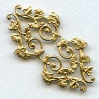 Morning Glory Motif Raw Brass Stamping (1)