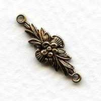 Connectors Floral Details 2 Loops Oxidized Brass (12)