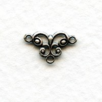 Tiny Connector Filigree Oxidized Sterling Silver 13mm (12)