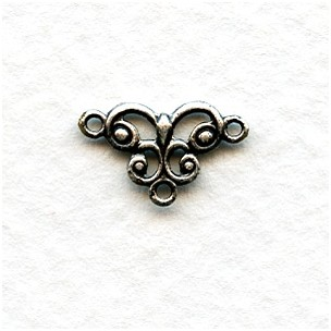 Tiny Connector Filigree Oxidized Sterling Silver 13mm