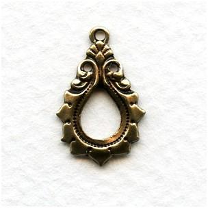 Gothic Detail Oxidized Brass Pendant Drops 19mm (12)