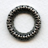 Filigree 23mm Ring Link Connectors Oxidized Silver (2)