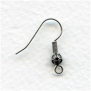 Fish Hook Earring Finding Filigree Bead Oxidized Silver (24)