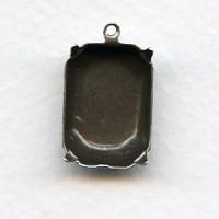 Cushion Octagon Settings Oxidized Silver 18x13mm (12)