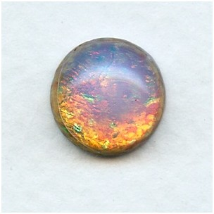 Fire Opal 13mm Handmade Glass Cabochons (2)