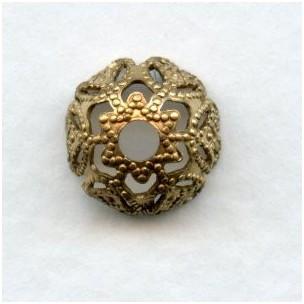 Filigree Flower Bead Caps Raw Brass 9mm