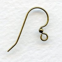 Simple Hook and Bead Earring Findings Oxidized Brass (24)