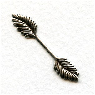 Double Leaf Bail Stamping Oxidized Silver 35mm (12)