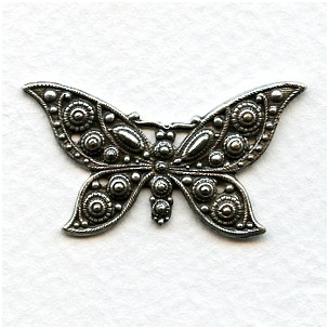 Detailed Butterfly 39mm Stamping Oxidized Silver (1)
