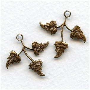 Three Leaf Sprays Oxidized Brass Right Left (6 Sets)