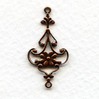 Floral 28mm Connector Filigree Oxidized Copper (6)