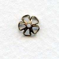 Retro Flower Power Bead Caps 6mm Oxidized Brass (24)