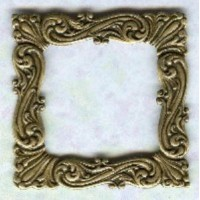 ^Ornate Flourishes Square Stamping Oxidized Brass
