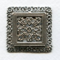 Ornate Floral Square 38mm Oxidized Silver Stamping (1)