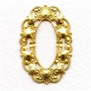^Smaller Filigree Oval 37x25mm Frames Raw Brass (6)