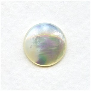 White Mother of Pearl 13mm Shell Cabochons (2)