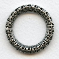 Filigree Ring 32mm Link Connector Oxidized Silver (1)