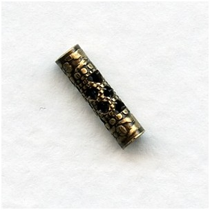 Filigree Spacer Tubes 13mm Oxidized Brass (12)