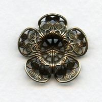 Filigree Flower Shapes Oxidized Brass 23mm (2)
