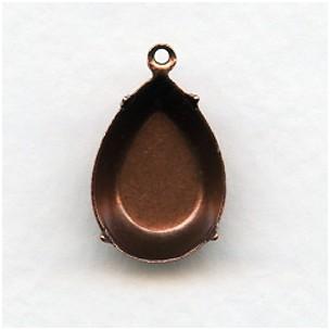 Pear Shape Pendant Settings Oxidized Copper 18x13mm (12)