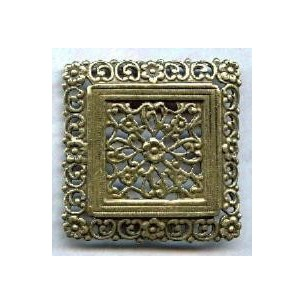 ^Ornate Floral Square Oxidized Brass Stamping (1)