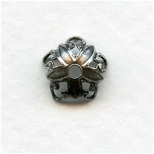 Open Tip Petals Bead Caps 8mm Oxidized Silver (24)