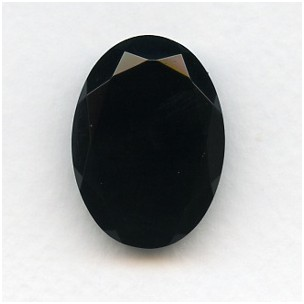 ^Jet Glass Oval Unfoiled Jewelry Stone 30x22mm