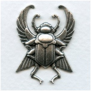 Winged Egyptian Beetle Oxidized Silver 35mm