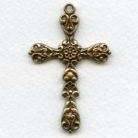 *Cross Pendant in Great Detail Oxidized Brass (1)