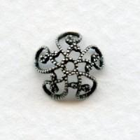 Victorian Style Filigree Bead Caps 10mm Oxidized Silver (12)