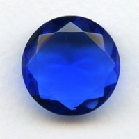 Sapphire Glass Round 25mm Unfoiled Jewelry Stone (1)