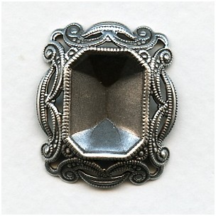 Filigree Edge 18x13mm Octagon Setting Oxidized Silver (1)
