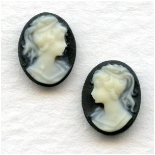 Cameos Girl in a Ponytail 10x8mm Ivory on Jet