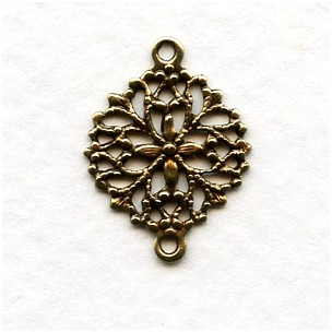 Round Filigree Connectors 2 Loops Oxidized Brass (12)