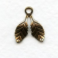 Small Double Leaves with a Loop Oxidized Brass 17mm (12)