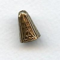 Fancy Oxidized Brass Bead Cone Caps 10mm (6)