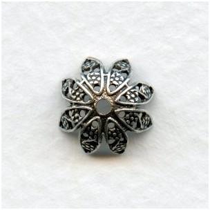 Delicate Filigree Bead Caps 10mm Oxidized Silver (12)