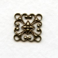 Square 12mm Filigree Connector Oxidized Brass (12)