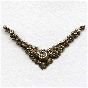 Rose Corner Embellishments Oxidized Brass (6)