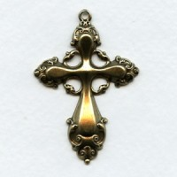 Ornate 47mm Cross Pendant Oxidized Brass (1)