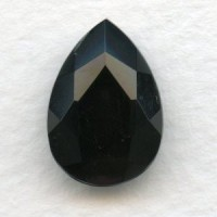 ^Jet Glass Pear Shape Glass Stone 18x13mm