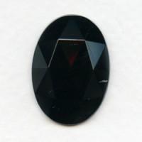 Jet Flat Back Glass Oval Jewelry Stone 25x18mm (1)
