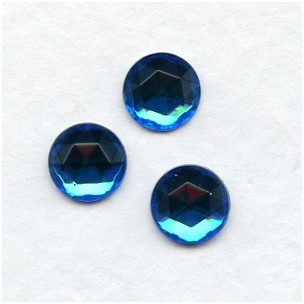 Bermuda Blue 7mm Flat Back Faceted Top Jewelry Stones