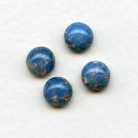 Blue Opal Glass Opal Cabochons 7mm