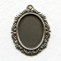 Ornate Pendant Settings 25x18mm Oxidized Silver (3)