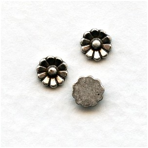 Oxidized Silver Daisy Flower Cabs 5.5mm (12)