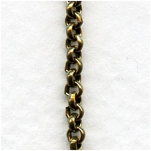 Tiny Rolo Chain Smooth 2mm Links Antique Gold (3 ft)