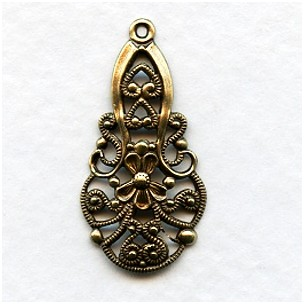 Filigree Pendants German Made Lace Like Details, Brass Ox (2)