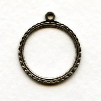 Round 15mm Hoop Pendants Oxidized Silver