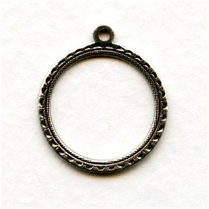 Round 15mm Hoop Pendants Oxidized Silver (3)